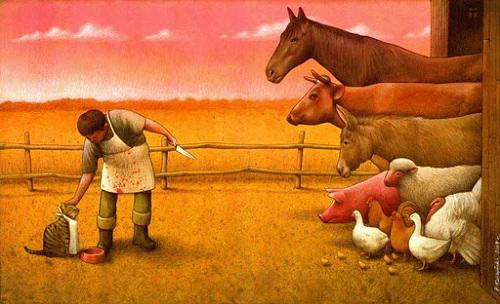 """Uma das crenças do especismo é a de que o gato e o cão são """"menos inferiores"""" do que os animais considerados """"de consumo"""""""