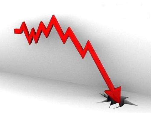 Gráfico de queda e crise