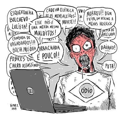 Charge do comentador de portais de notícias cheio de ódio, de Vitor Teixeira