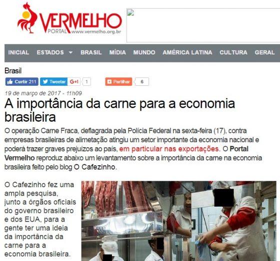 Print do site do Vermelho, pró-carne