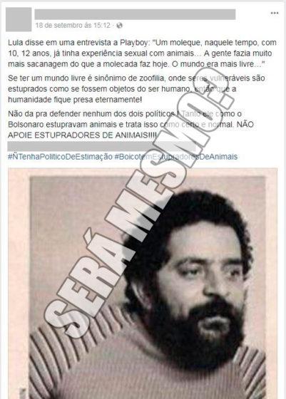 Lula realmente confessou zoofilia?