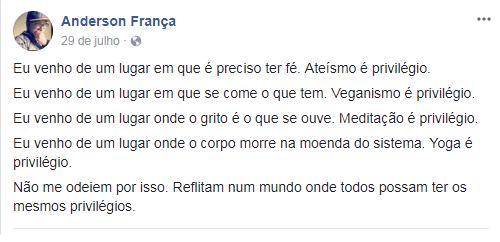 Anderson França: veganismo é privilégio